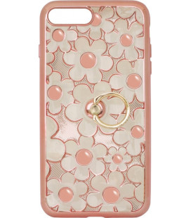 Силикон iPhone 7+ pink Flowers Finger holder