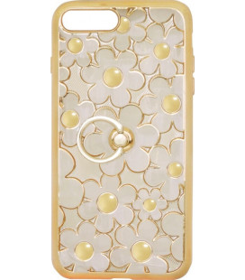 Силикон iPhone 7+ gold Flowers Finger holder